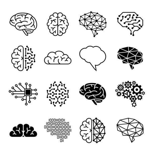 Human brain icons - vector illustration Human brain icons - vector illustration brain stock illustrations