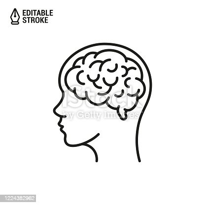 istock Human Brain in Head. Vector Outline Icon with Editable Strokes isolated on white background 1224382962