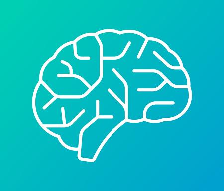 Human brain line design element shape.