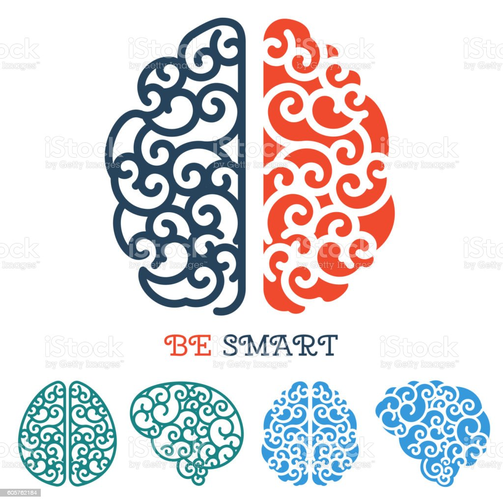 Human Brain Logo Or Thinking Label Vector Stock Vector Art & More ...