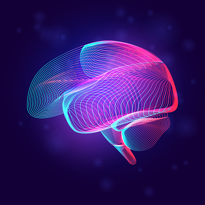 Human brain medical structure. Outline vector illustration of body part organ anatomy in 3d line art style on neon abstract background