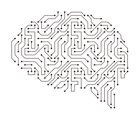 human brain, motherboards, chip and artificial intelligence concept