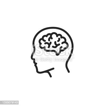 istock Human Brain Outline Icon Editable Stroke 1253079143