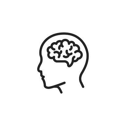 Human brain outline vector icon. Editable Stroke.