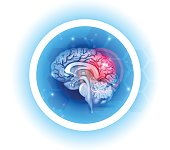 Human brain problems symbol on a beautiful light blue radial background