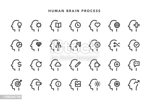 Human Brain Process Icons - Vector EPS 10 File, Pixel Perfect 28 Icons.