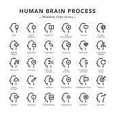 Human Brain Process - Medium Line Icons - Vector EPS 10 File, Pixel Perfect 30 Icons.