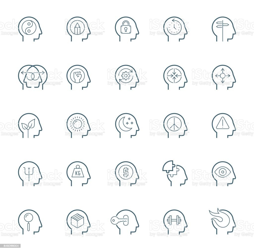 Human brain processes, people thinking, emotions, mental health, creative business and development ideas icon set vector art illustration