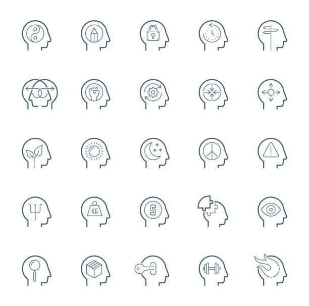 Human brain processes, people thinking, emotions, mental health, creative business and development ideas icon set Human brain processes, people thinking, emotions, mental health, creative business and development ideas icon set shy stock illustrations