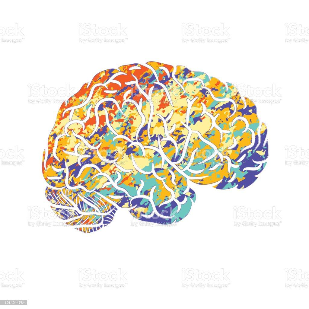 Human brain silhouette - illustrazione arte vettoriale
