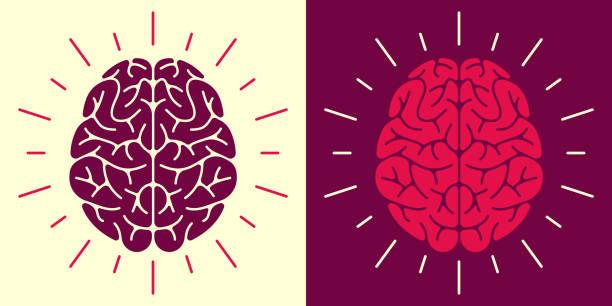 ilustraciones, imágenes clip art, dibujos animados e iconos de stock de símbolo e icono del cerebro humano - brain