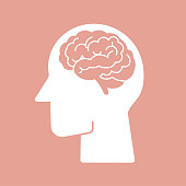 Human brain vector flat icon pictogram symbol on pink background easy to edit stoke and color