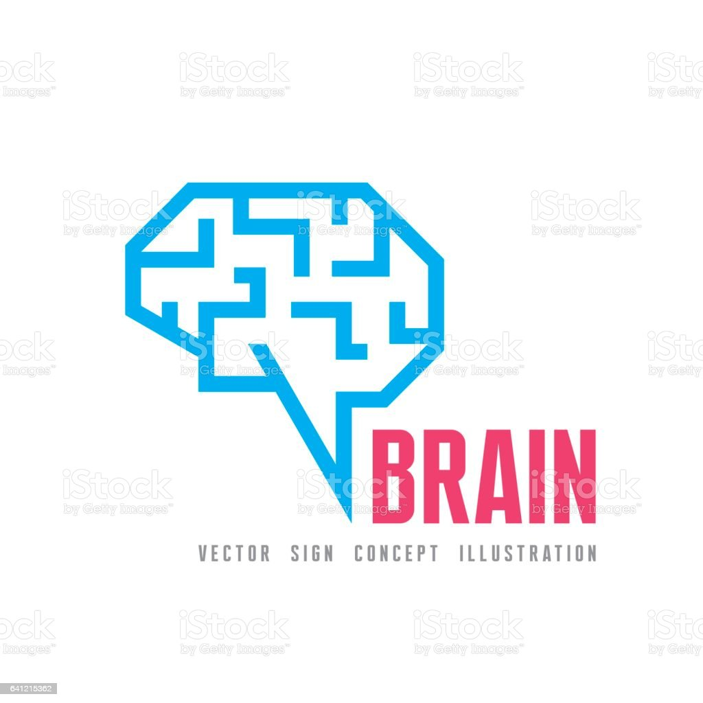 Human brain - vector logo template concept illustration. Geometric mind structure sign. vector art illustration