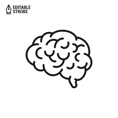 Human Brain. Vector Outline Icon with Editable Strokes Isolated on White Background
