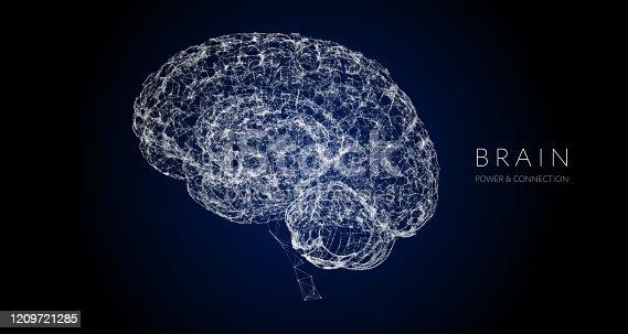 Human brain illustration. Global colors used.
