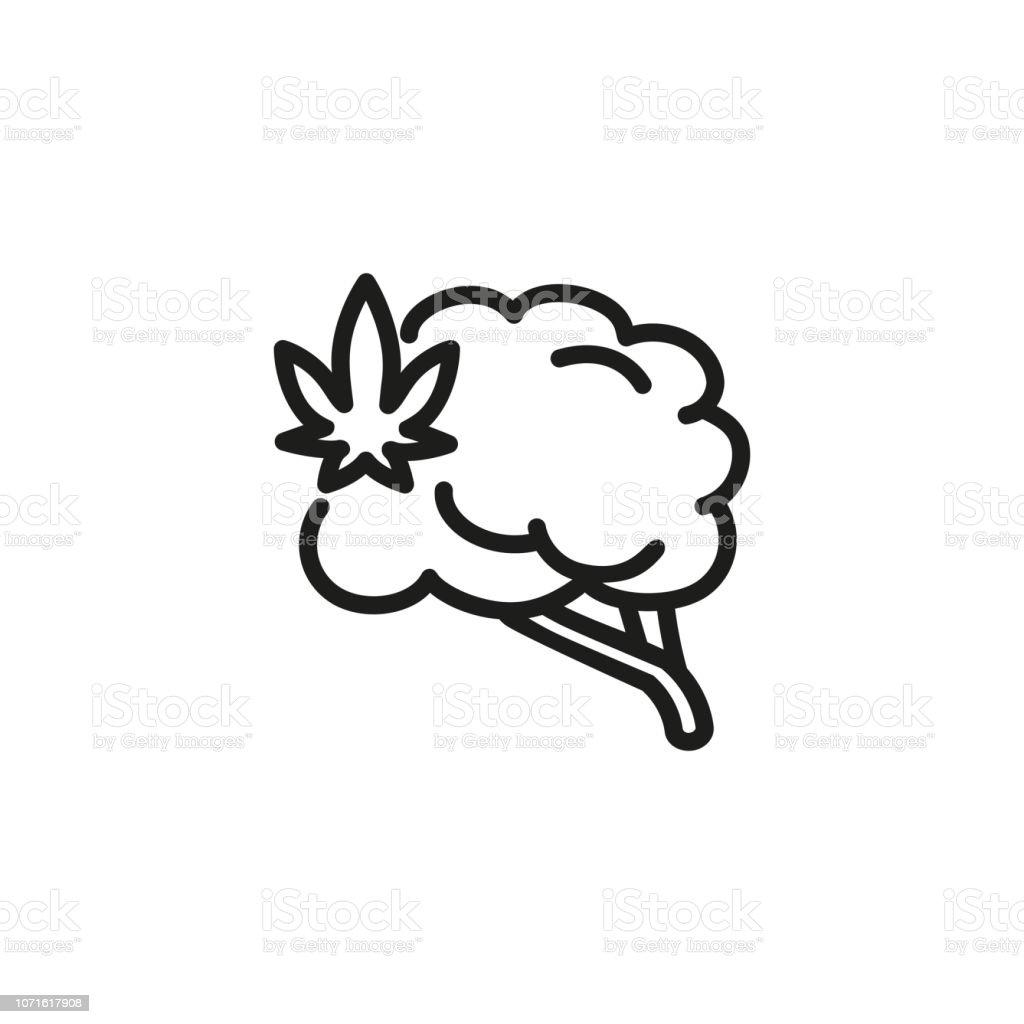 Cerveau humain avec l'icône de ligne symbole cannabis - Illustration vectorielle