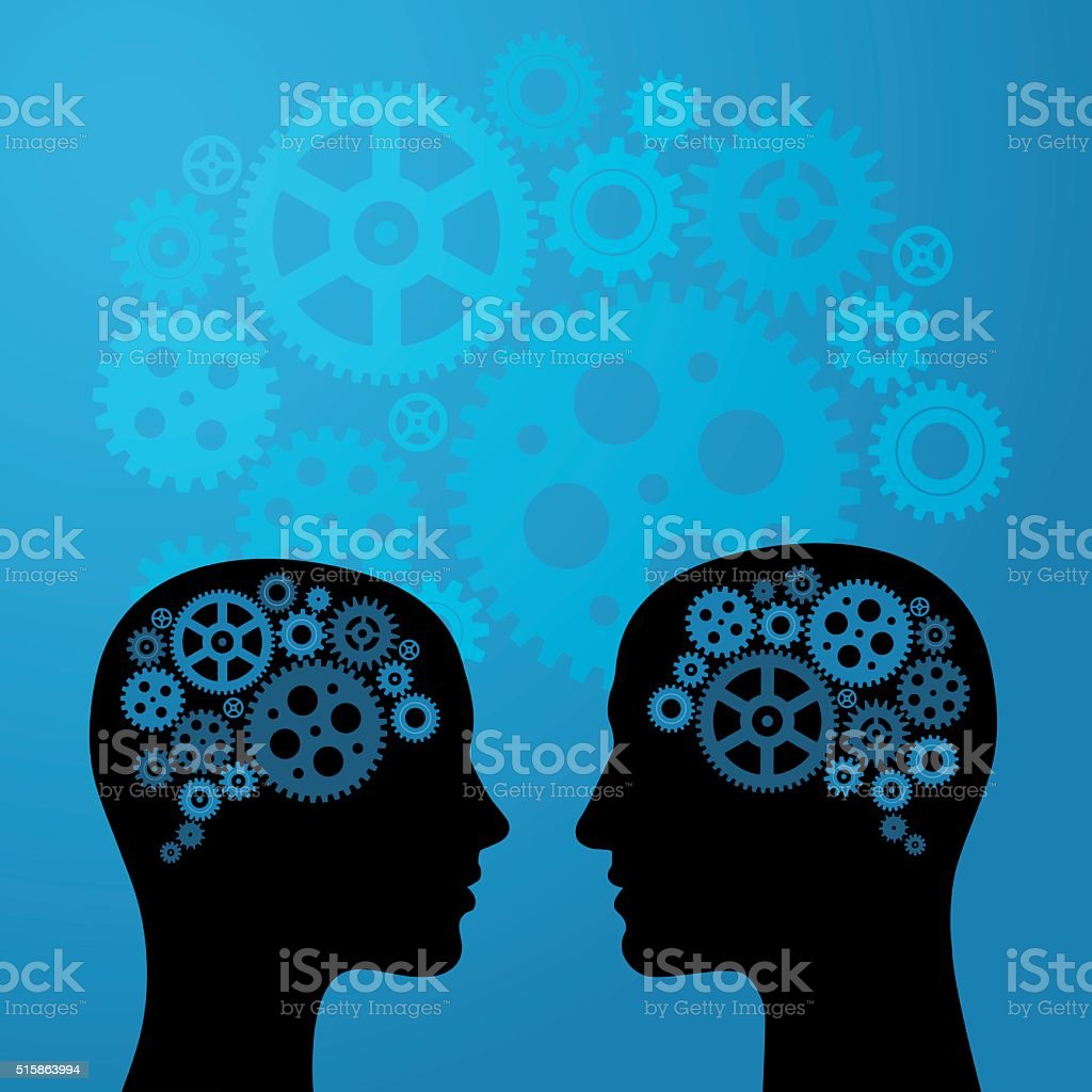 Human Brain with Gears on head of Woman and Man vector art illustration