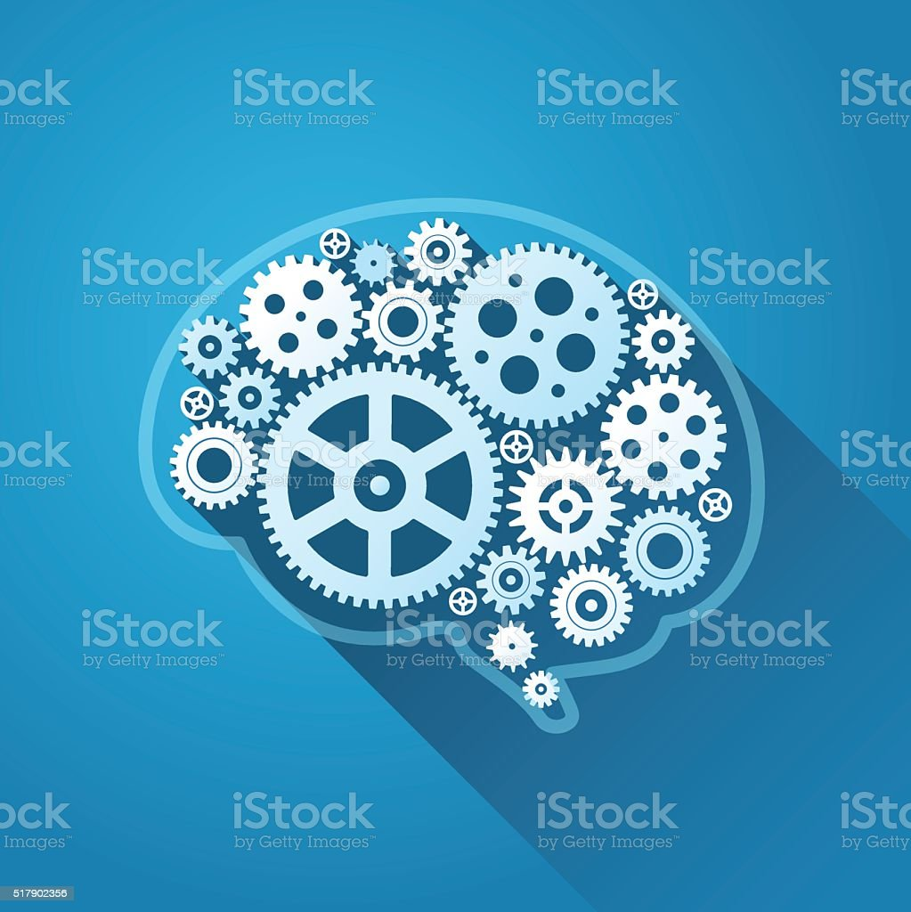 Human Brain with gears vector art illustration