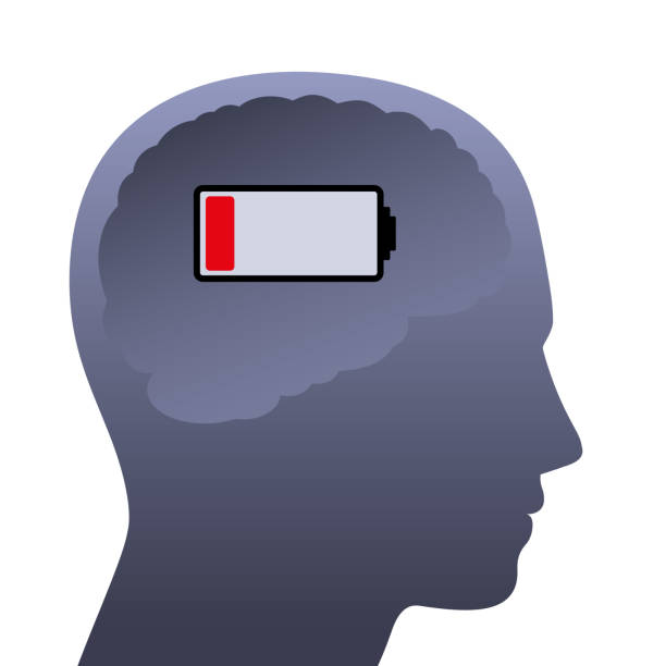 Human brain with weak battery. Empty head with low power, symbolic for stress, depression, burnout, frustration, tiredness, negative mental mood or lack of concentration. vector art illustration