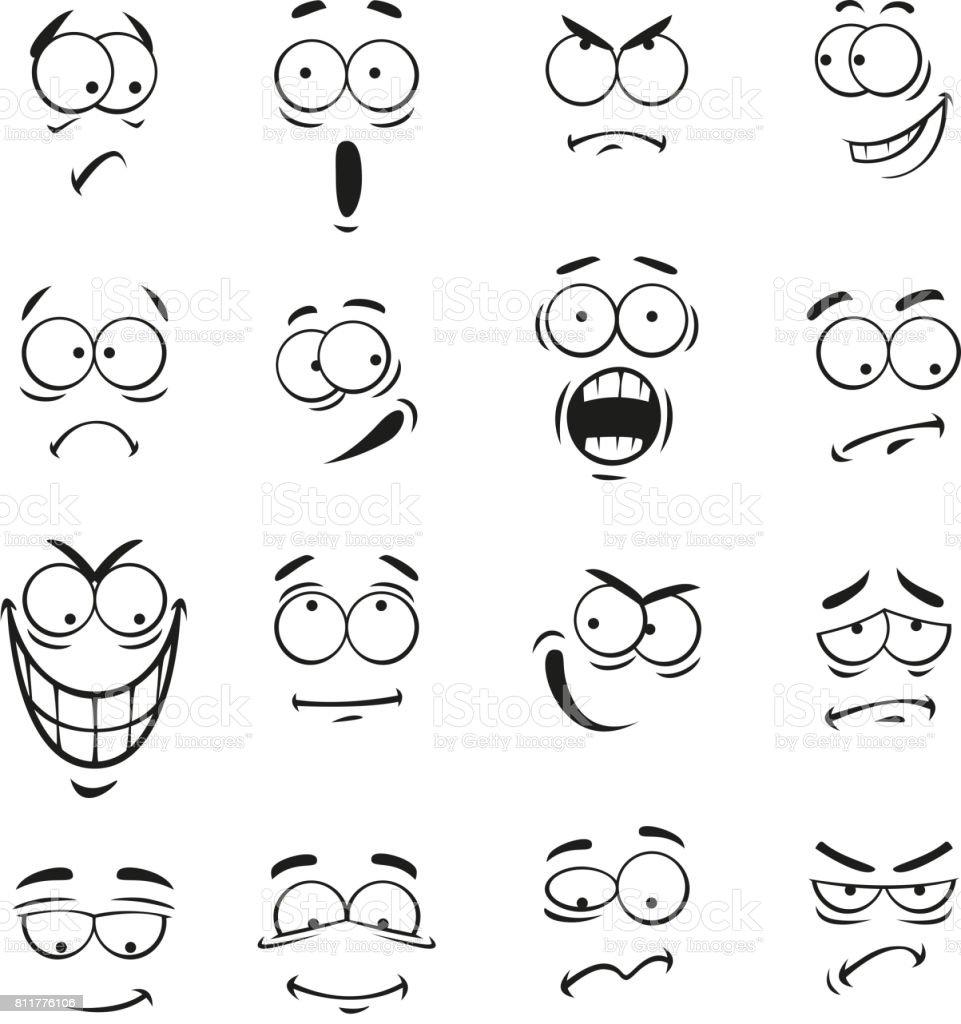 Ilustración De Humano Dibujos Animados Emoticonos Caras Con