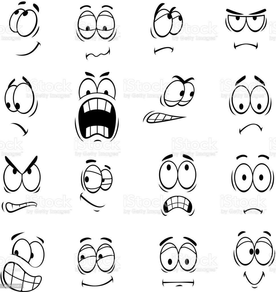 Human cartoon eyes emoticons symbols vector art illustration