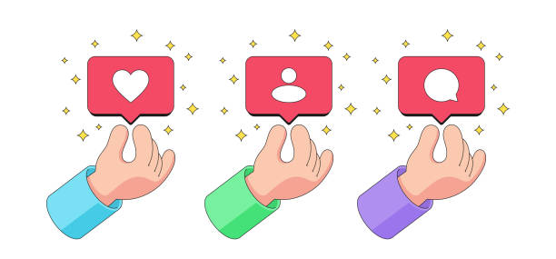Human cartoon hand gives away bubble notification with Like, Follower and Comment icon Human cartoon hand gives away bubble notification with Like, Follower and Comment icon. Social network notice about new likes, followers and comments among glitter stars. Vector illustration follow us animation stock illustrations