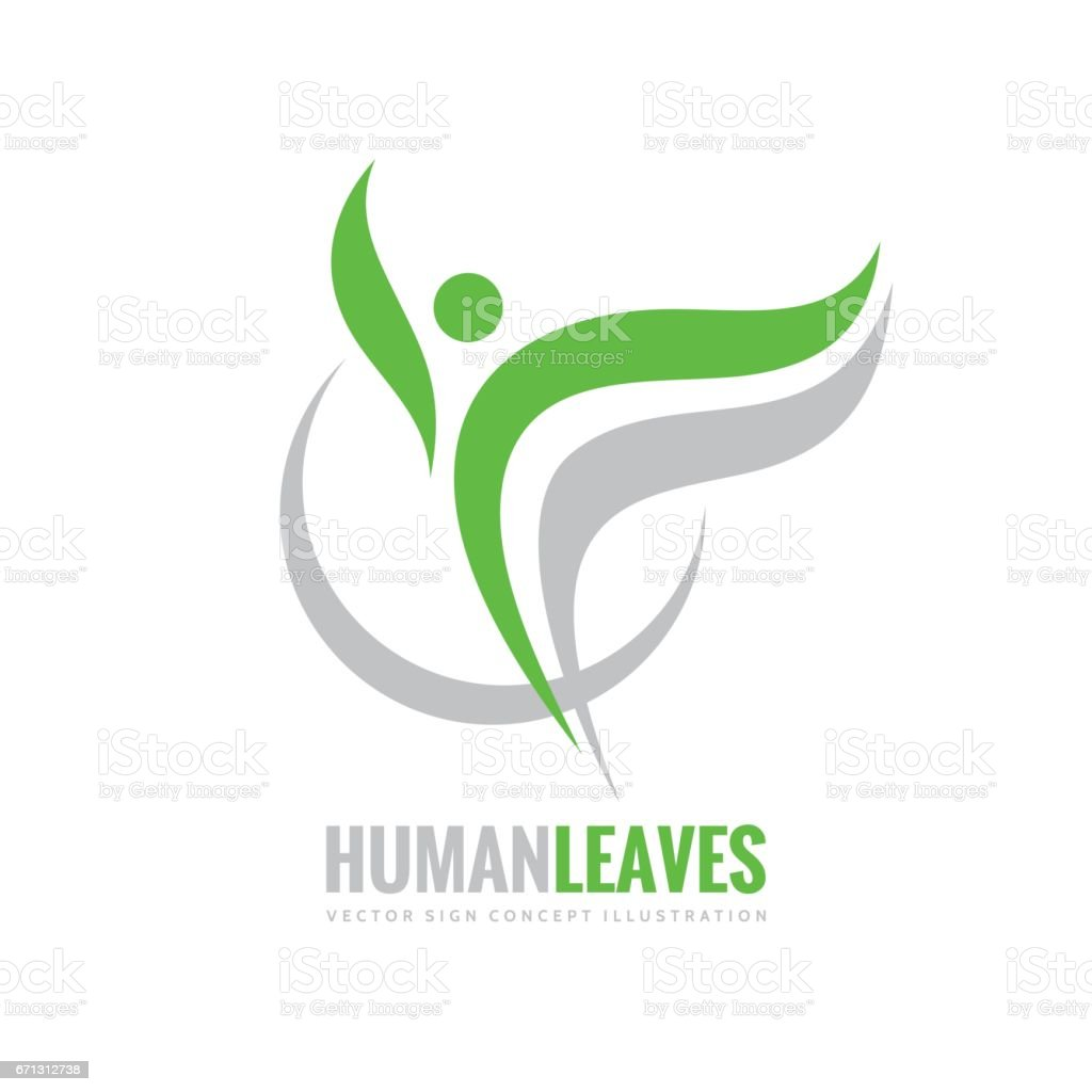 Human character - green leaves - vector logo concept illustration. Health positive symbol. Design element. vector art illustration