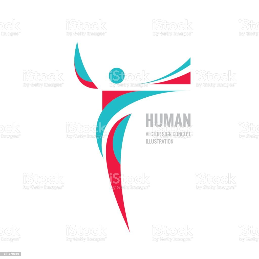Human character - vector logo template concept illustration for sport club, fitness hall, health center, music festival etc. vector art illustration