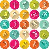 human colorful - round icon set