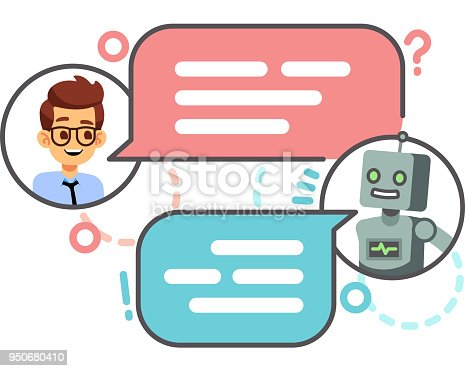 istock Human conversation with robot on smartphone. Chatting with bot, chatbot vector concept 950680410