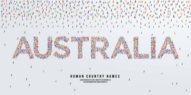 bildbanksillustrationer, clip art samt tecknat material och ikoner med människoland namn australien. stor grupp människor bildar för att skapa land namn australien. vektorillustration. - canberra skyline
