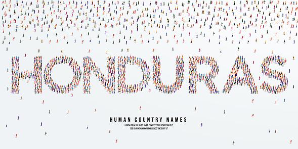 Human country name Honduras. large group of people form to create country name Honduras. vector illustration.