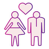istock Human Couple with heart flat icon. Heterosexual loving couple illustration isolated on white. Couple in love with heart symbol gradient style design, designed for web and app. Eps 10. 1201409342