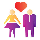 istock Human Couple with heart flat icon. Heterosexual loving couple illustration isolated on white. Couple in love with heart symbol gradient style design, designed for web and app. Eps 10. 1201409351