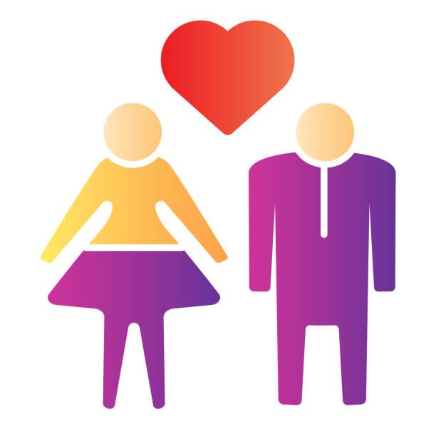 stockillustraties, clipart, cartoons en iconen met menselijk paar met hart vlak pictogram. heteroseksuele houdende paarillustratie die op wit wordt geïsoleerd. paar in liefde met hartsymbool gradiënt stijl ontwerp, ontworpen voor web en app. eps 10. - flirten