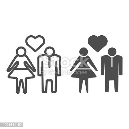 istock Human Couple with heart line and solid icon. Heterosexual loving couple illustration isolated on white. Couple in love with heart symbol outline style design, designed for web and app. Eps 10. 1201641152
