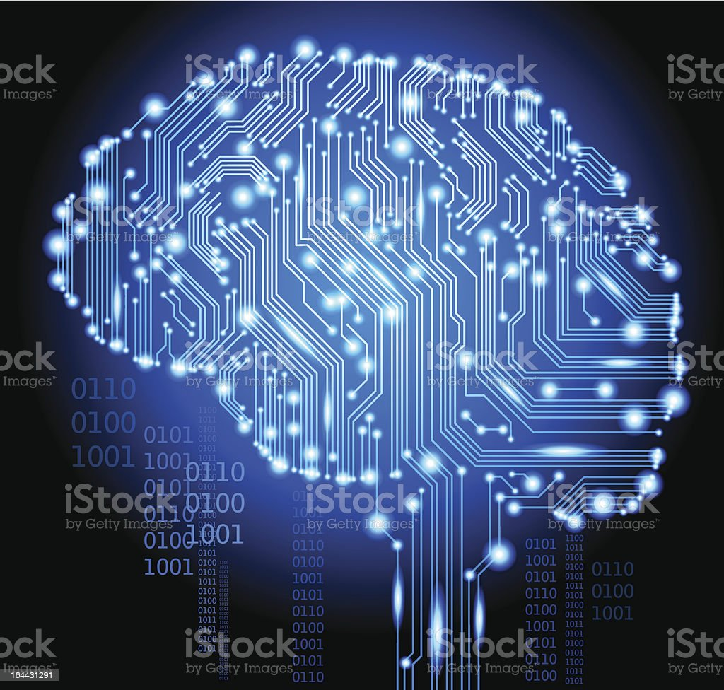 Human Cyborg Brain vector art illustration