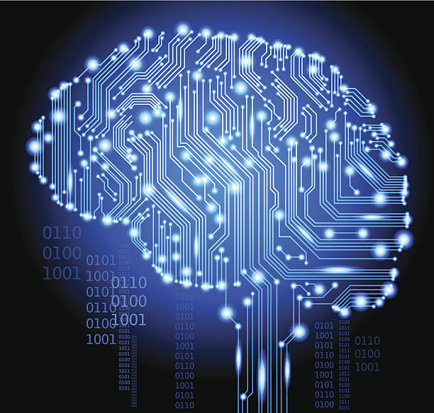 Ciborg brain.eps humanos - ilustración de arte vectorial