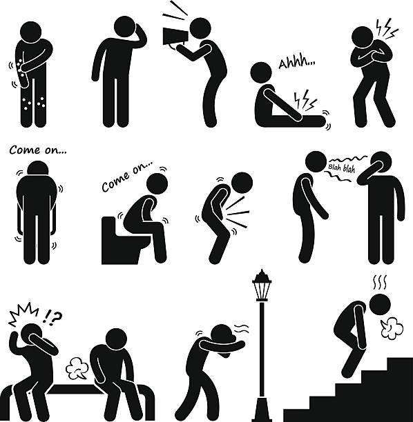 illustrazioni stock, clip art, cartoni animati e icone di tendenza di malattia umana malattia malattia sintomo sindrome - irritazione