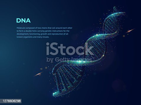 istock Human DNA abstract dotwork vector illustration made of cloud of colored dots. Digital art on topics of science or medicine. Deoxyribonucleic acid graphic design consists of neon particles. 1276606298