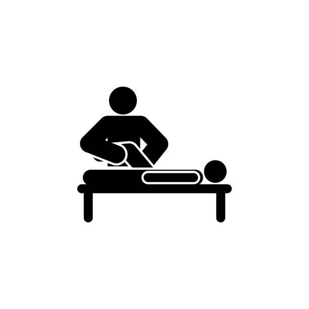 ilustraciones, imágenes clip art, dibujos animados e iconos de stock de humano haciendo el icono del contorno del masaje. los signos y símbolos se pueden utilizar para la web, el logotipo, la aplicación móvil, la interfaz de usuario, ux - medicina del deporte