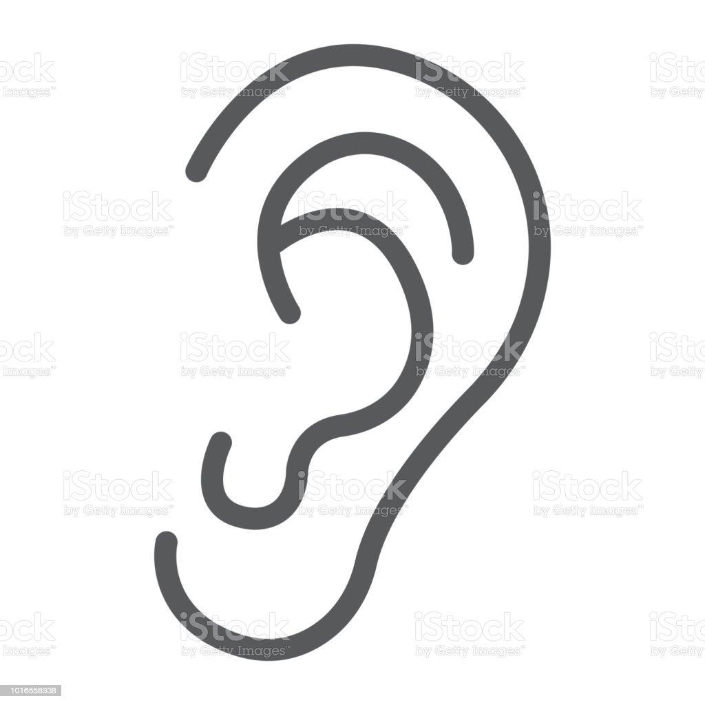 Menschliche Ohr Liniensymbol Anatomie Und Biologie Otologie Zeichen ...