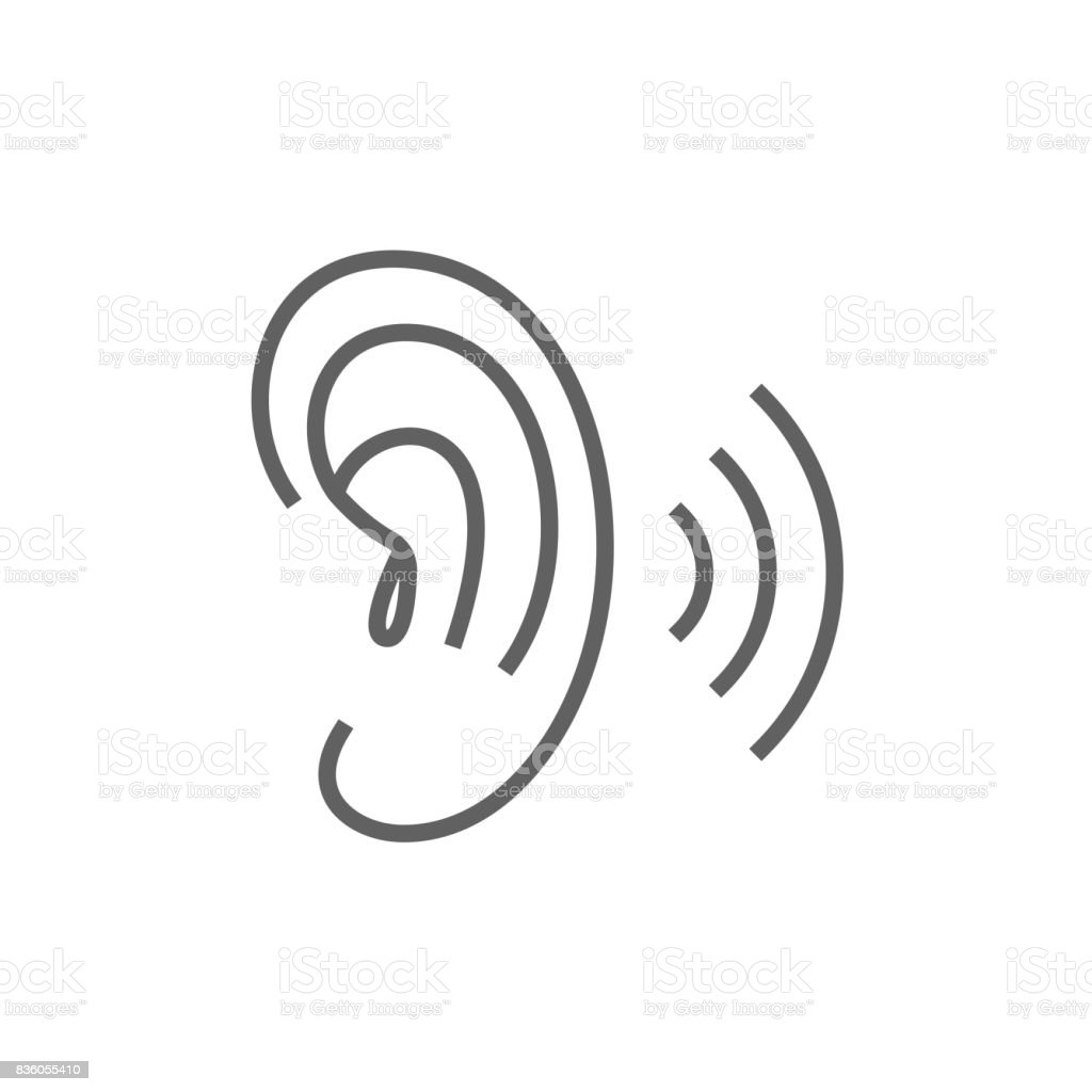 Human ear line icon vector art illustration