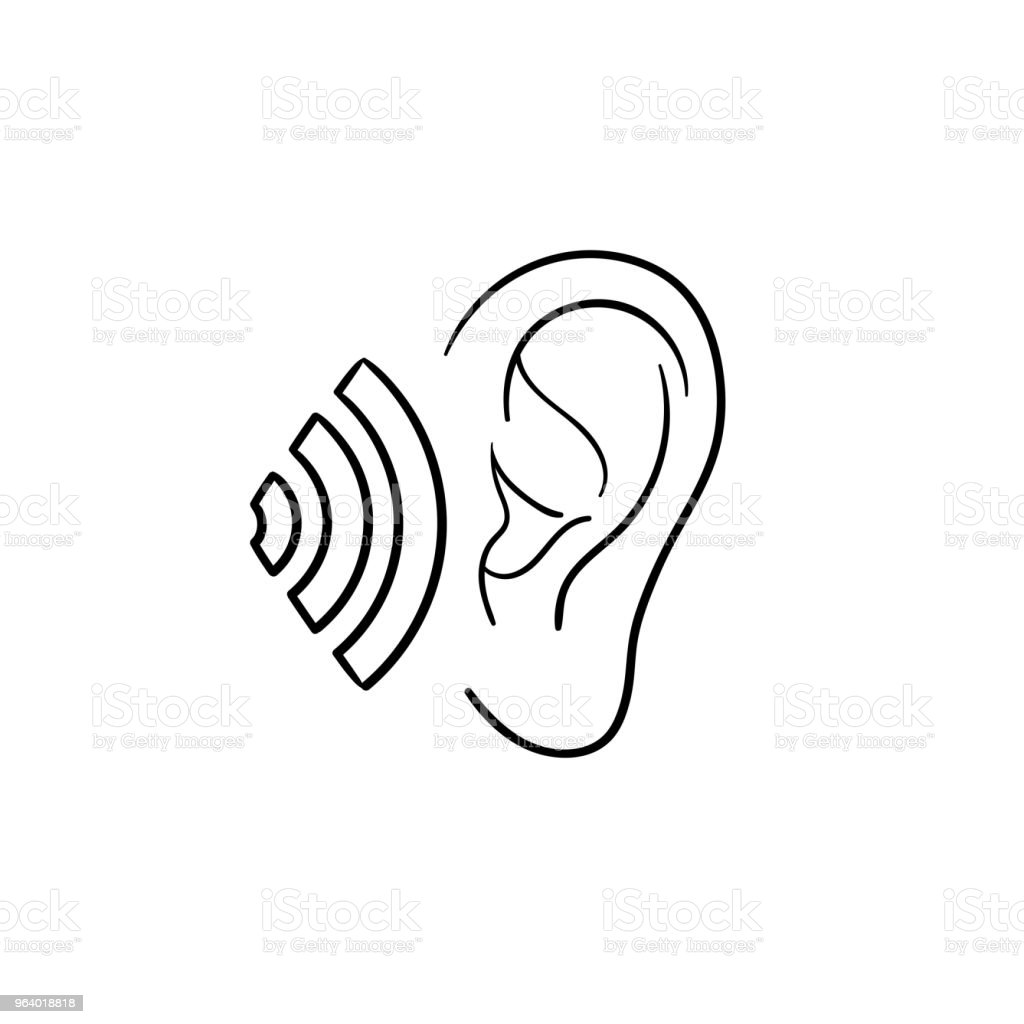Human ear with sound waves hand drawn outline doodle icon - Royalty-free Anatomy stock vector