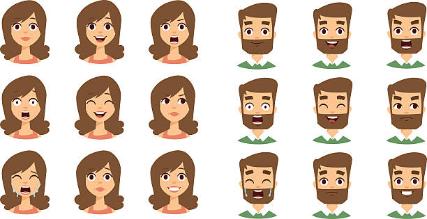 stockillustraties, clipart, cartoons en iconen met human emotion face vector set - gezichtsuitdrukking