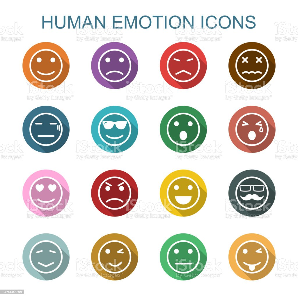 human emotion long shadow icons vector art illustration