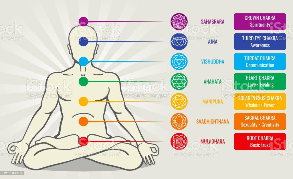 Human energy chakra system, ayurveda love asana vector illustration vector art illustration