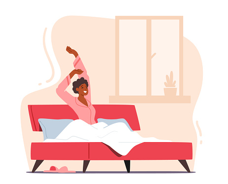 Human Everyday Routine, Lifestyle. Young Woman Wake Up at Morning in Good Mood. Awaken Happy Girl Sitting on Bed