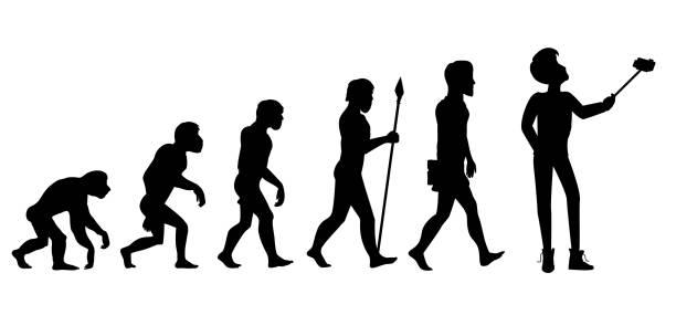 illustrazioni stock, clip art, cartoni animati e icone di tendenza di evoluzione umana da ape da uomo - man evolution