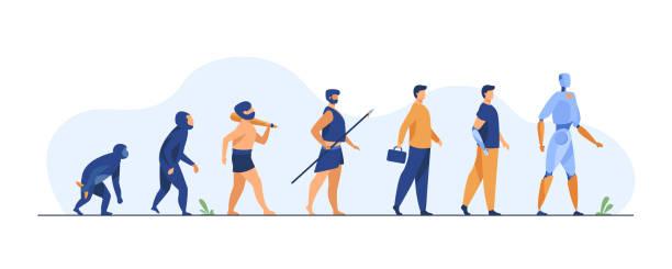 ewolucja człowieka od małpy do cyborga - postęp stock illustrations